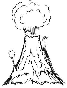 hand drawn, sketch, cartoon illustration of volcano