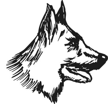 hand drawn, sketch, cartoon illustration of german shepherd