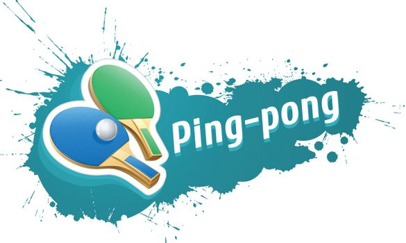 Ping-pong table tennis racket and ball on grunge background