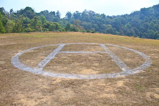 Helicopter landing pad on mountain