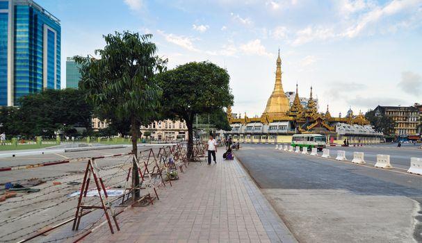 YANGON, MYANMAR - October 12, 2013: Traffic in downtown Yangon