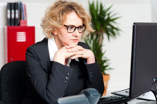 Relaxed beautiful corporate woman
