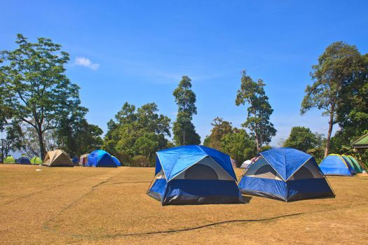 Colorful tent on the camping ground of national park