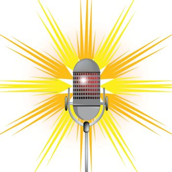 A microphone with a colourful splash background