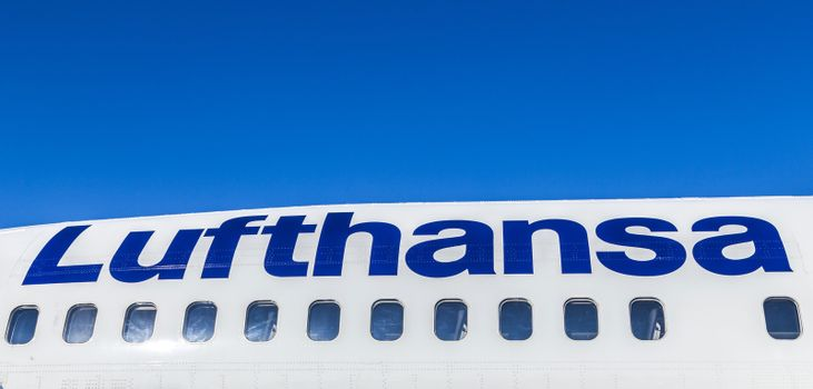 FRANKFURT, GERMANY - MAY 4: Lufthansa Boeing 737 ready for boarding on May 4, 2014 in Frankfurt, Germany. Frankfurt is  the busiest airport in Germany and one of the mosy busy in Europe.