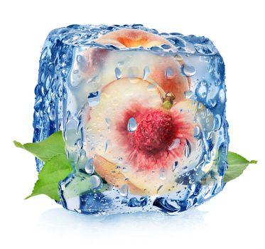 Juicy peach in ice cube