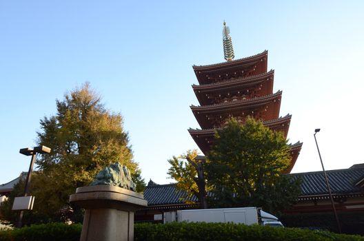 Ornate five-storey pagoda at Sensoji Temple