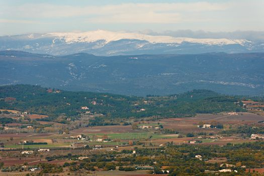 Provence landscape view in winter