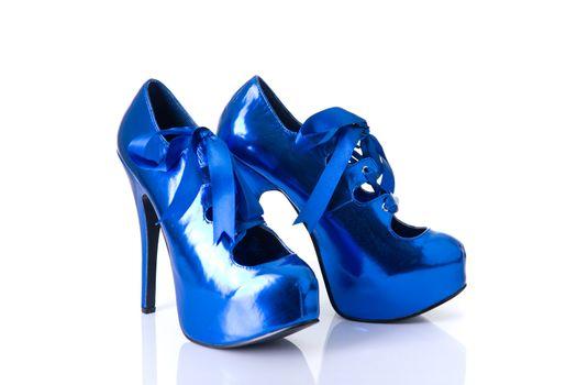 Blue burlesque style female shoes
