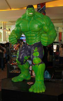BANGKOK - MAY. 11: A Hulk model in Thailand Comic Con 2014 on May 11, 2014 at Siam Paragon, Bangkok, Thailand.