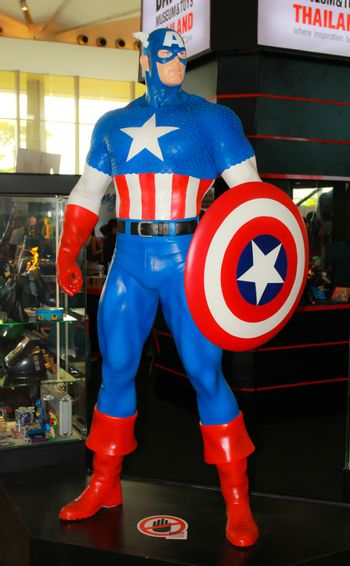 A model of the character Captain America from the movies and com