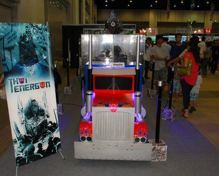 BANGKOK - MAY. 11: A Transformer model in Thailand Comic Con 2014 on May 11, 2014 at Siam Paragon, Bangkok, Thailand.