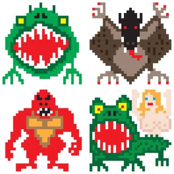 terror horror worse nightmare monsters pixel art
