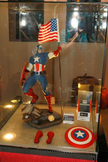 A model of the character Captain America from the movies and comic