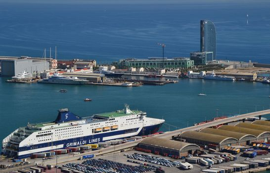Port and ship in Barcelona