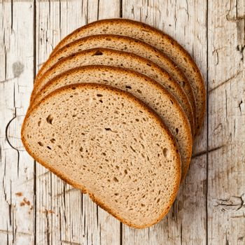 five slices of rye bread