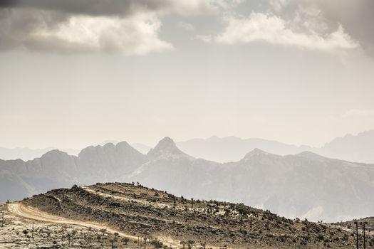 Image of landscape mountain Jebel Shams in Oman