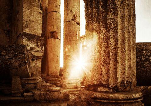 Jupiter's temple  Baalbek in sunset