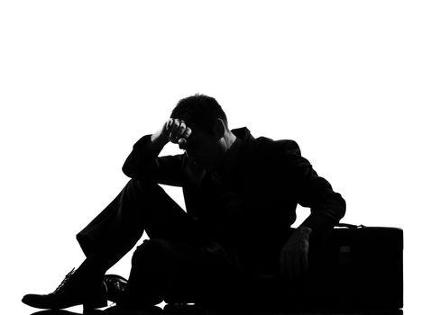 silhouette  man  fatigue despair tired