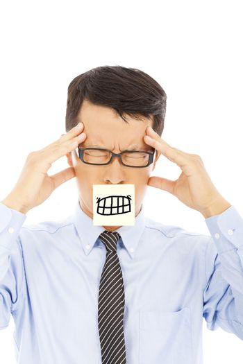 businessman with headache and angry expression on sticker