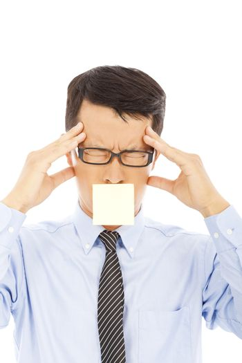 businessman with headache expression and sticker