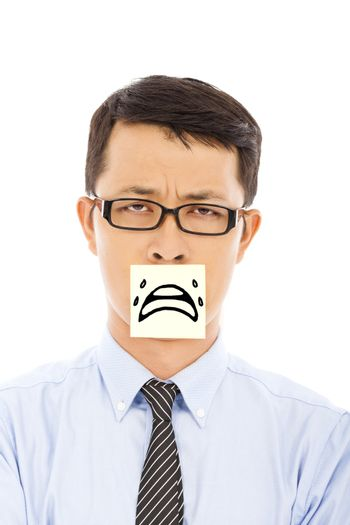 businessman feel helpless and cry expression on sticker
