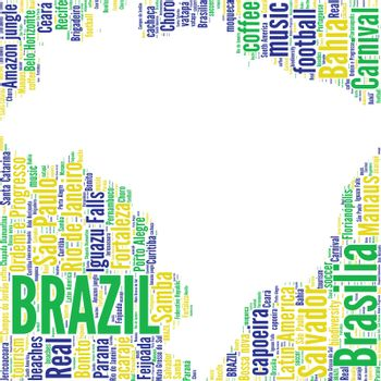 Brazil map vector tag cloud