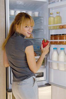 woman and fridge l