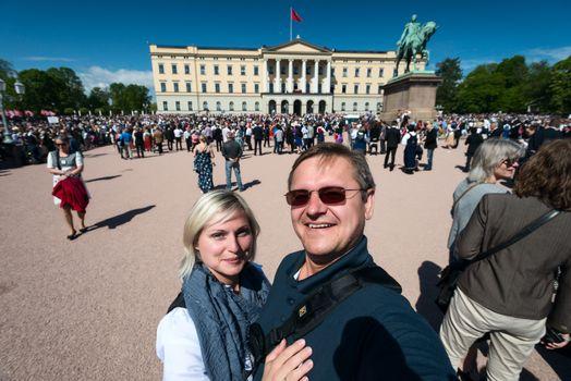 17 may oslo norway celebration couple of happy people