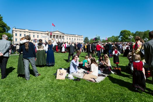 17 may oslo norway picnic on front of rtoyal palace