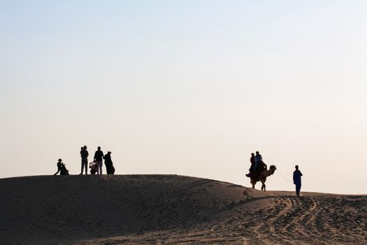 Silhouetted Family Group Couple on Camel desert landscape