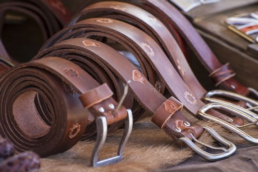 Store handmade  leather belts, spanish medieval fair