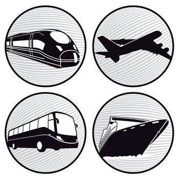 Bus, ship, plane , train