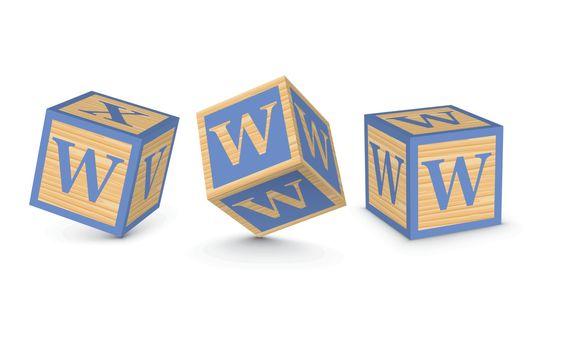 Vector letter W wooden alphabet blocks