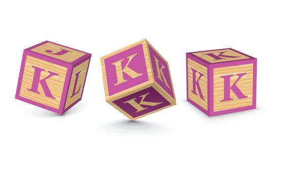 Vector letter K wooden alphabet blocks