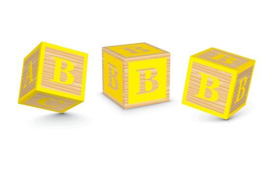 Vector letter B wooden alphabet blocks