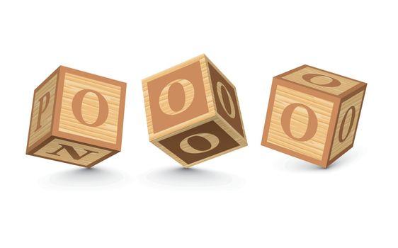 Vector letter O wooden alphabet blocks