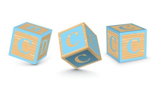 Vector letter C wooden alphabet blocks