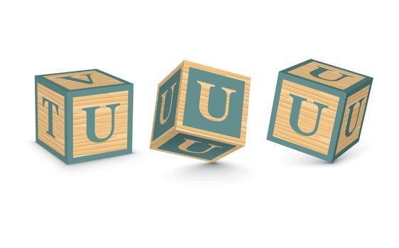 Vector letter U wooden alphabet blocks