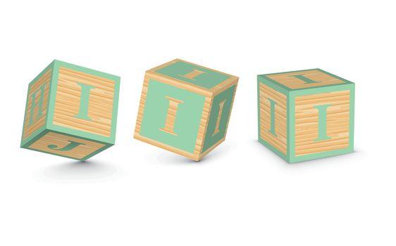 Vector letter I wooden alphabet blocks