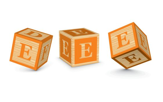 Vector letter E wooden alphabet blocks