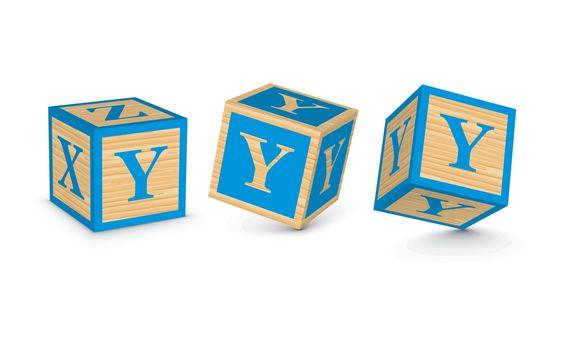 Vector letter Y wooden alphabet blocks