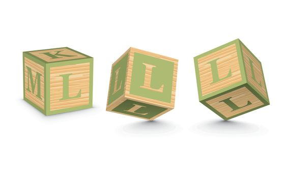 Vector letter L wooden alphabet blocks