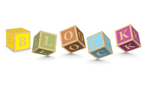 Word BLOCK written with alphabet blocks