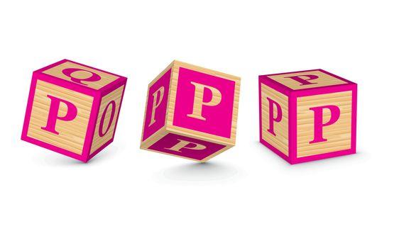 Vector letter P wooden alphabet blocks