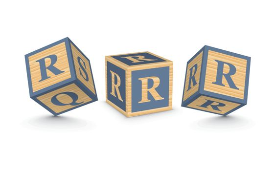 Vector letter R wooden alphabet blocks