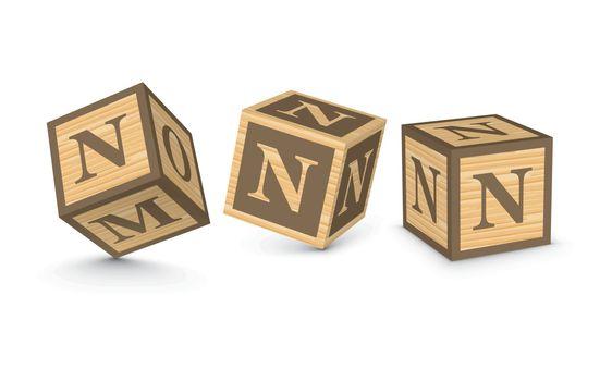 Vector letter N wooden alphabet blocks