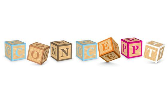 Word CONCEPT written with alphabet blocks