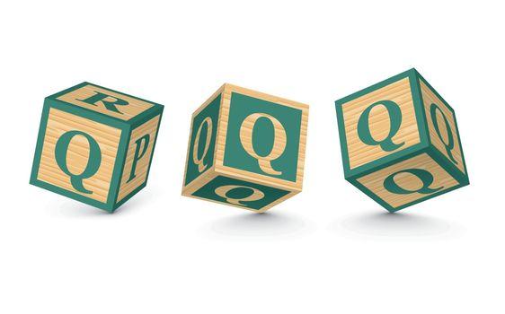 Vector letter Q wooden alphabet blocks