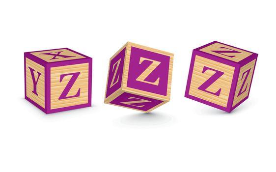 Vector letter Z wooden alphabet blocks